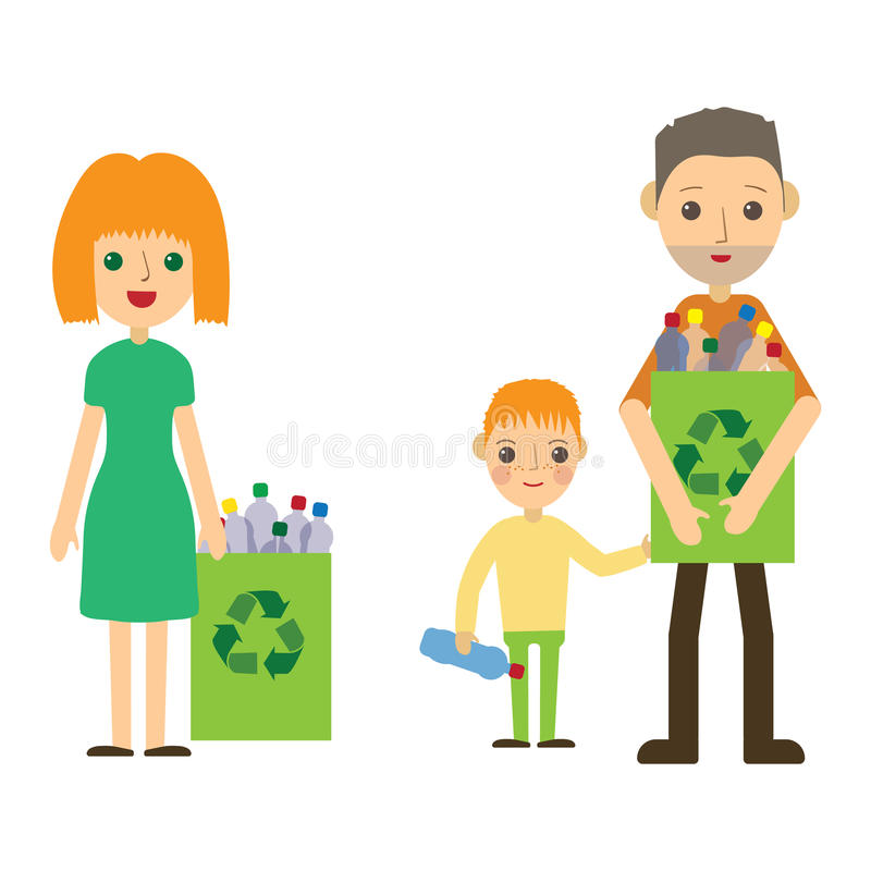 Family recycling plastic bottles. Flat styled characters isolated. Vector illustration. royalty free illustration