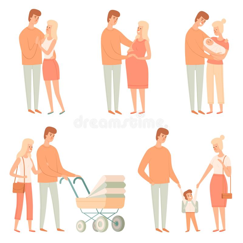 Family relation. Happy people kids other father students baby big family vector cartoon pictures. Father and mother with baby family illustraion vector illustration