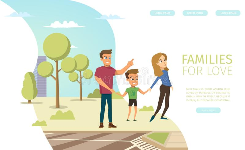 Family Relations Consultation Vector Web Banner. Families for Love Flat Vector Horizontal Web Banner with Happy Smiling Father and Mother Walking with Child royalty free illustration