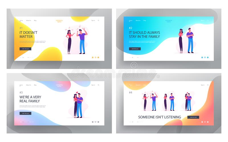 Family Relations Website Landing Page Set. Young Couple Man and Woman Fight and Reconciliation. Disagreement Scandal royalty free illustration