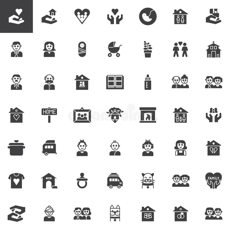 Family relatives vector icons set vector illustration