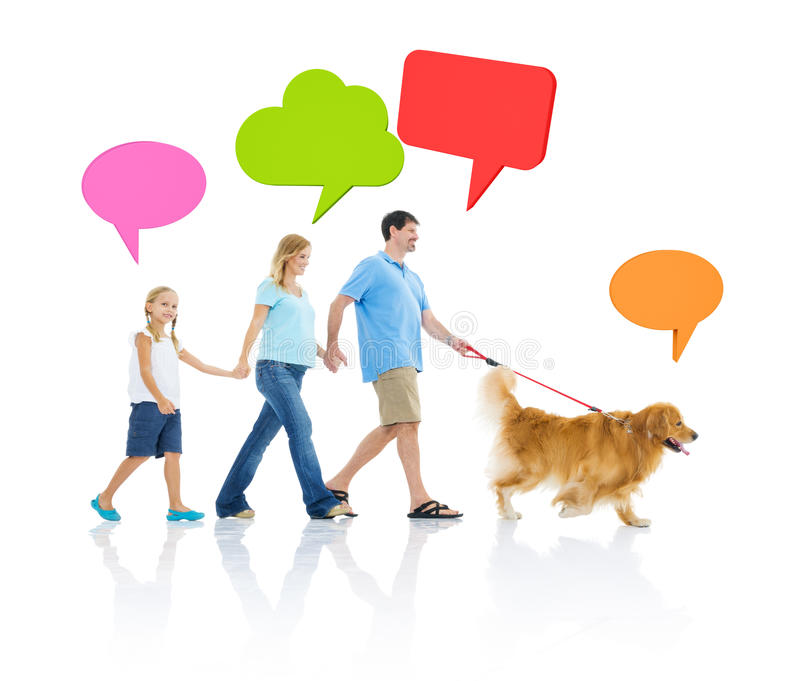 Family Relaxation with Dog and Speech Bubbles stock images