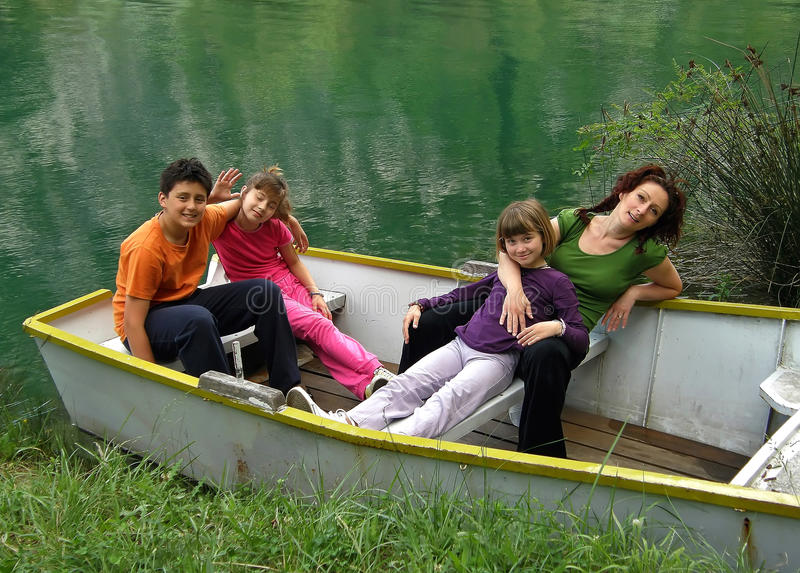 Download Family relaxing on boat stock image. Image of brother - 18076573