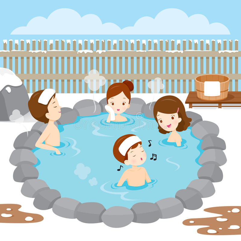 Family Relaxing In Hot Spring. Bath Onsen Japanese Culture Healthy Season Body vector illustration