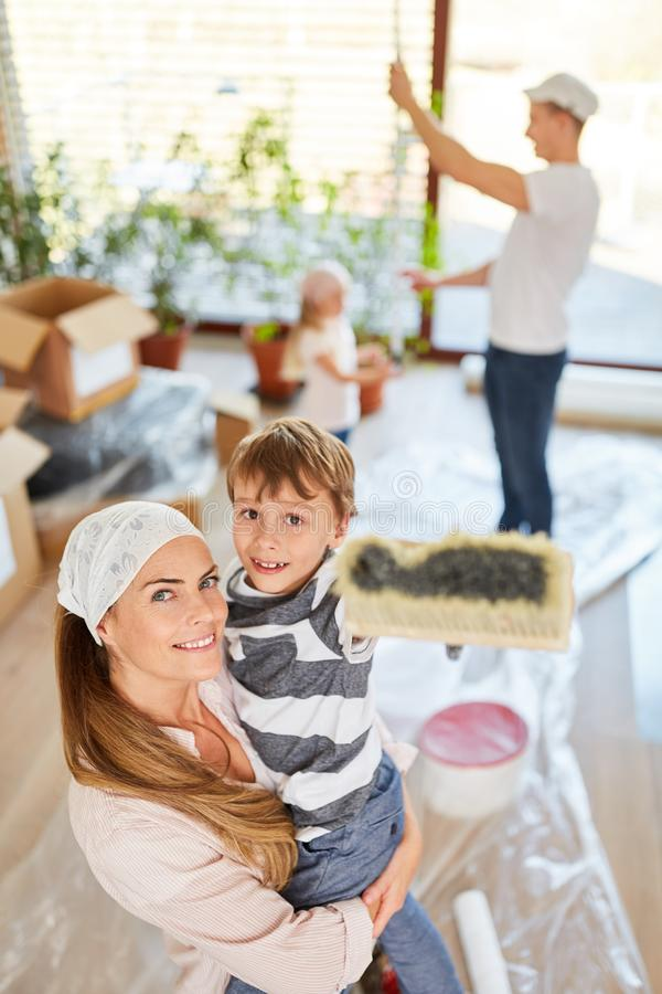 Family at renovation before moving into the house royalty free stock photos