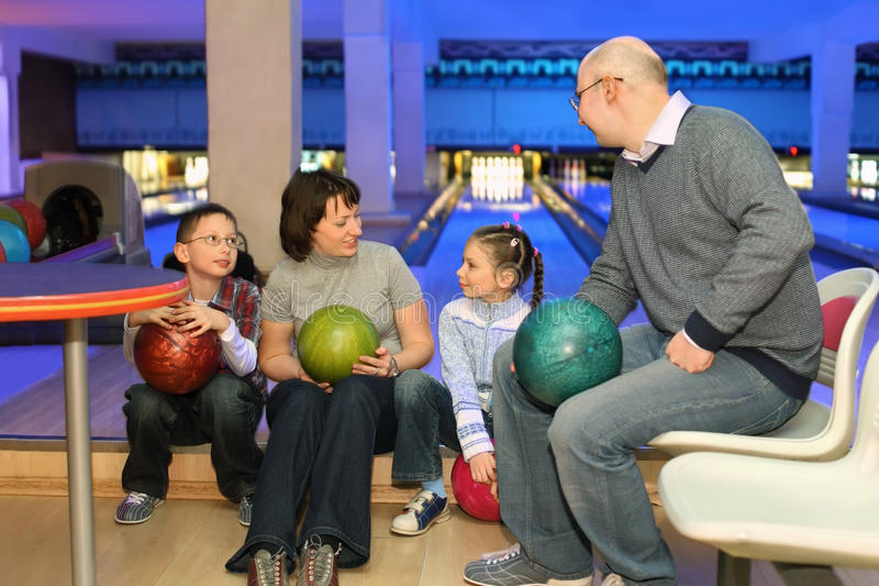 Download Family In Rest And Communicate In Bowling Club Stock Photo - Image of husband, ball: 20698804