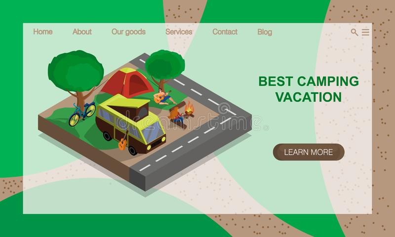 Family resting in nature, eco tourism, camping. Isometric 3D illustration. Vector website landing page design template royalty free illustration