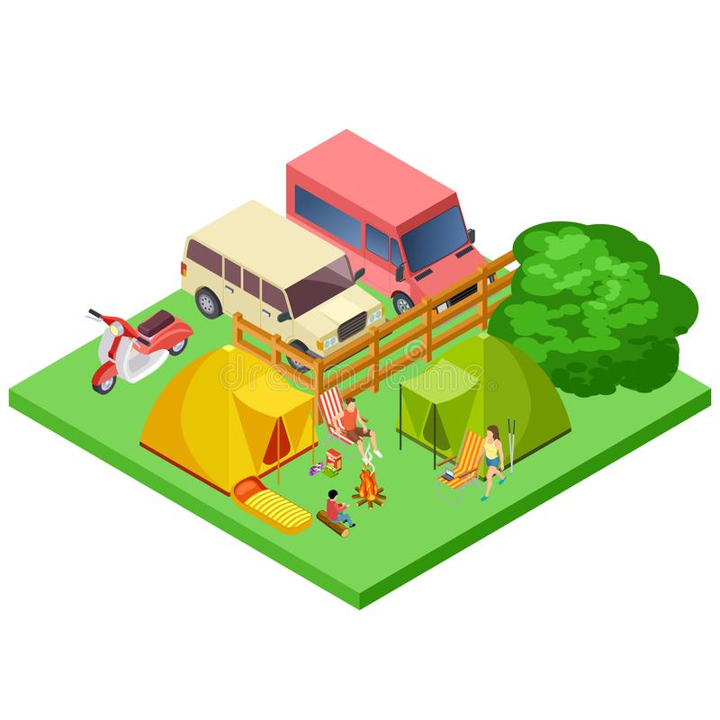 Family resting in nature, eco tourism, camping isometric vector location vector illustration
