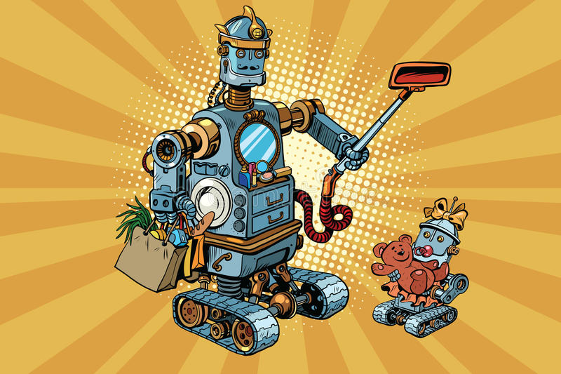 Family retro robots dad and baby royalty free illustration