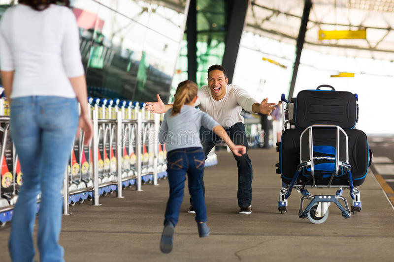 Family reunion airport. Happy family reunion at airport royalty free stock photo