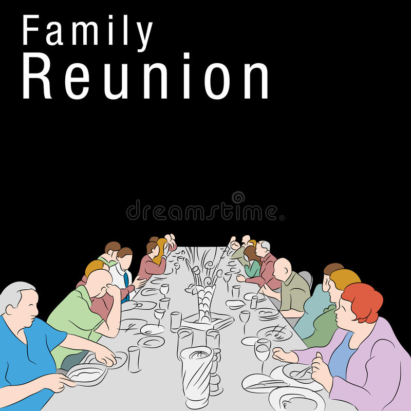 Family Reunion Meal. An image of a group of people eating a meal around a large table stock illustration
