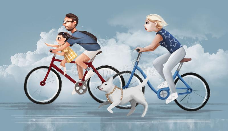 Family rides bicycles on the road royalty free illustration