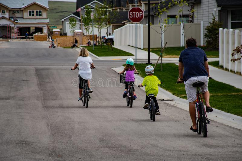 Family Riding on Bicycle royalty free stock photo