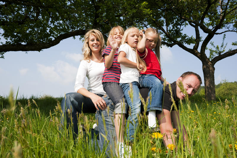 Download Family riding daddy stock image. Image of field, rural - 15236913