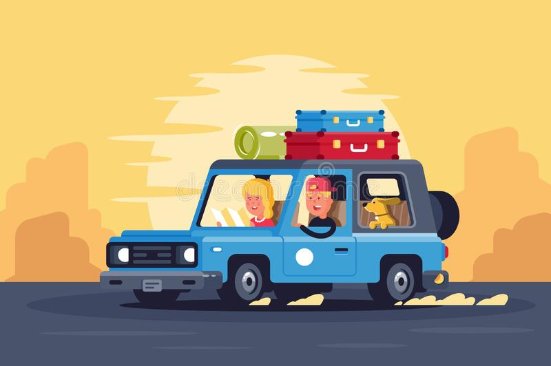 Family road trip with dog on classic car and things on the roof. stock illustration