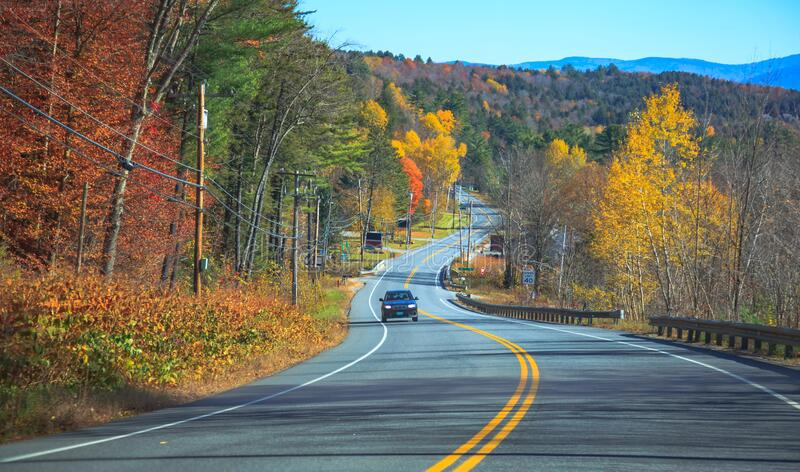 Family Road Trip, Scenic Drive with view of Colorful Autumn Leaves Color Season Scenery. Holiday, Vacation, Leisure Travel in. Beautiful Nature, National Park stock photography