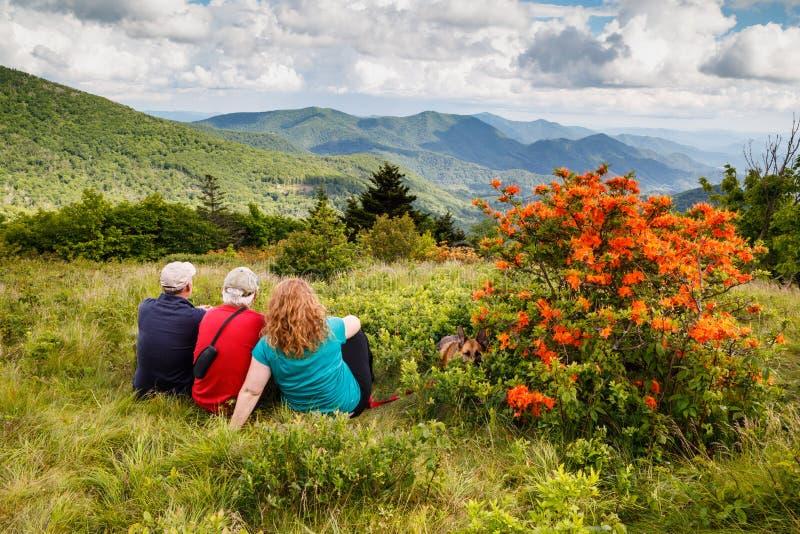 Family on Roan Mountain North Carolina stock photography