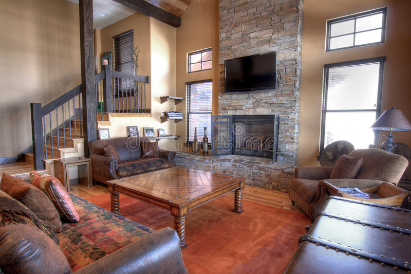 Family room. The living or TV room in a nice home royalty free stock image