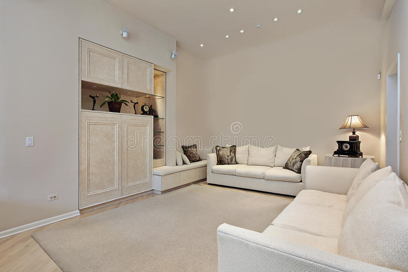 Family room with built-ins stock images