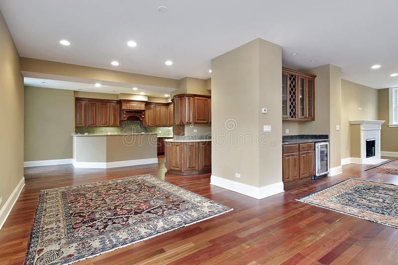 Family room with cherry wood floors