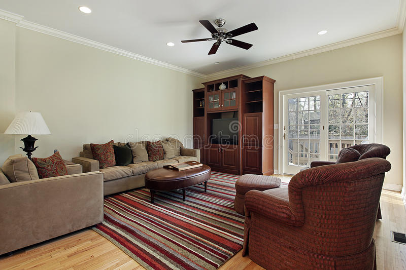 Family Room With Door To Deck Stock Images