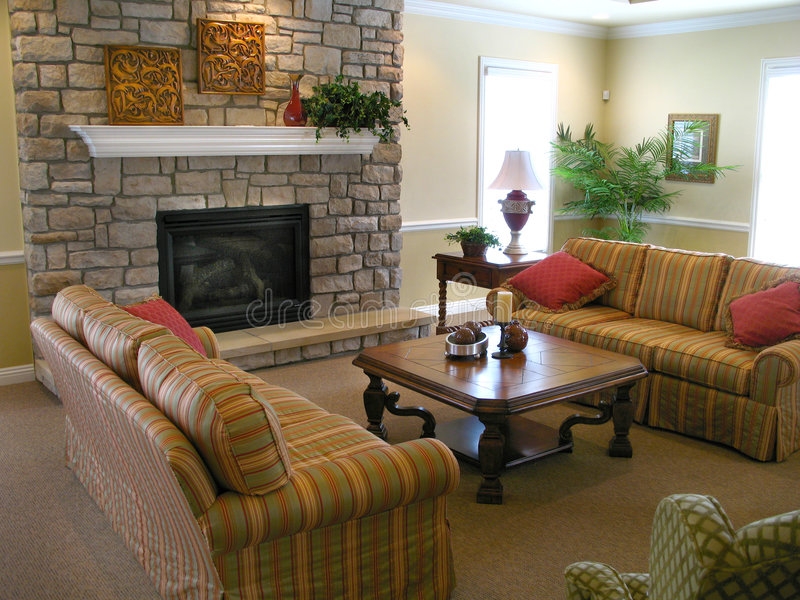 Download Family room with fireplace stock image. Image of plants - 3304449