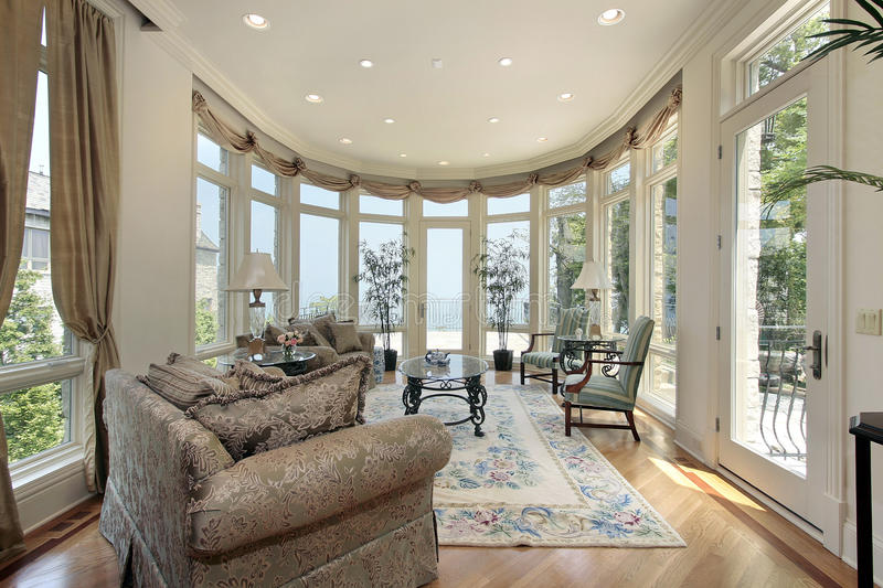 Download Family room with lake view stock photo. Image of ottoman - 12655298