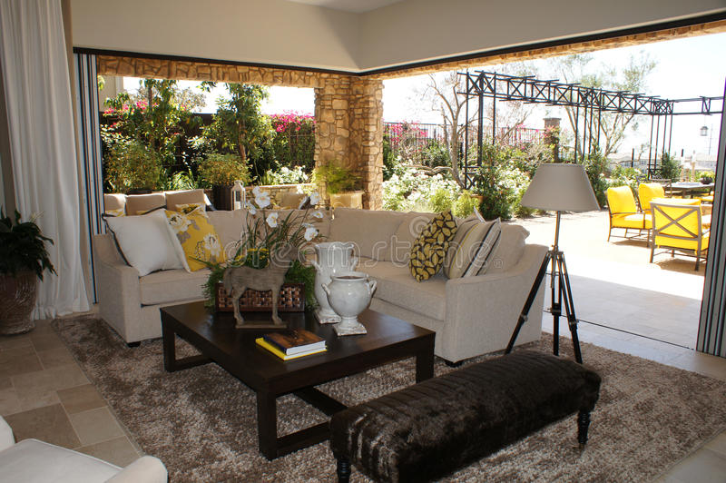 Download Family Room With Outdoor Livingroom Stock Image - Image: 21028125