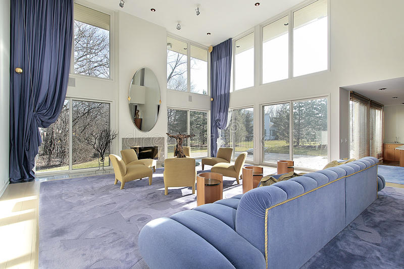 Download Family Room With Two Story Windows Stock Photo - Image: 12797952