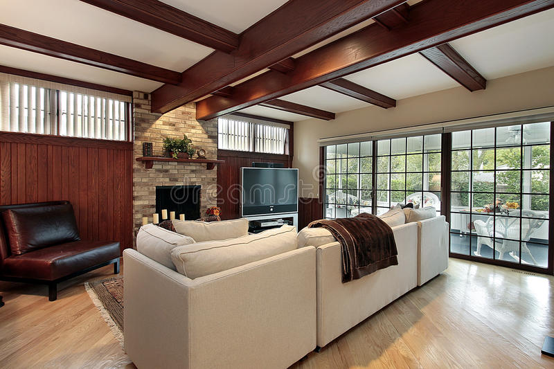 Download Family Room With Wood Beams Stock Photo - Image: 12655462