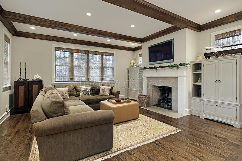 Download Family Room With Wood Ceiling Beams Stock Image   Image Of  Elegant, Interior: