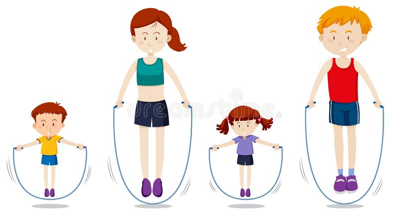 A family rope jumping vector illustration