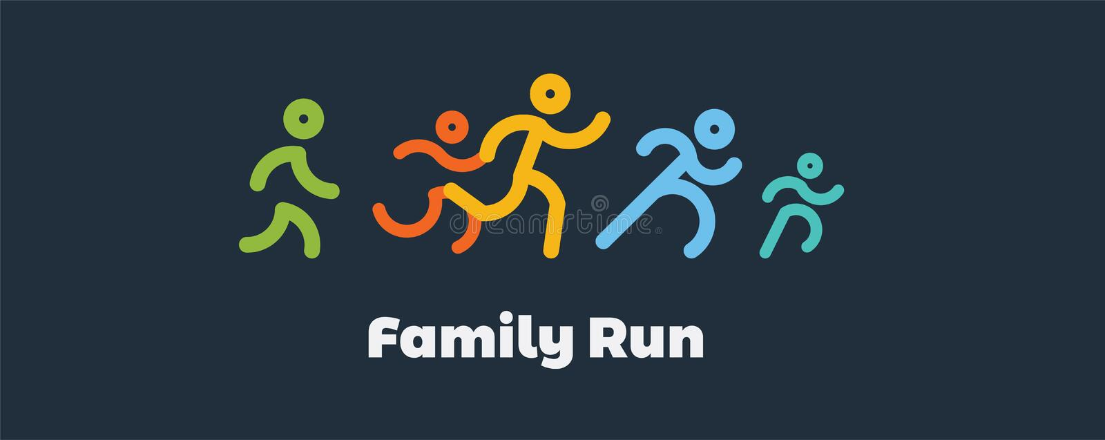 Family run race. colorful Runners.logo for running competition. vector illustration royalty free illustration
