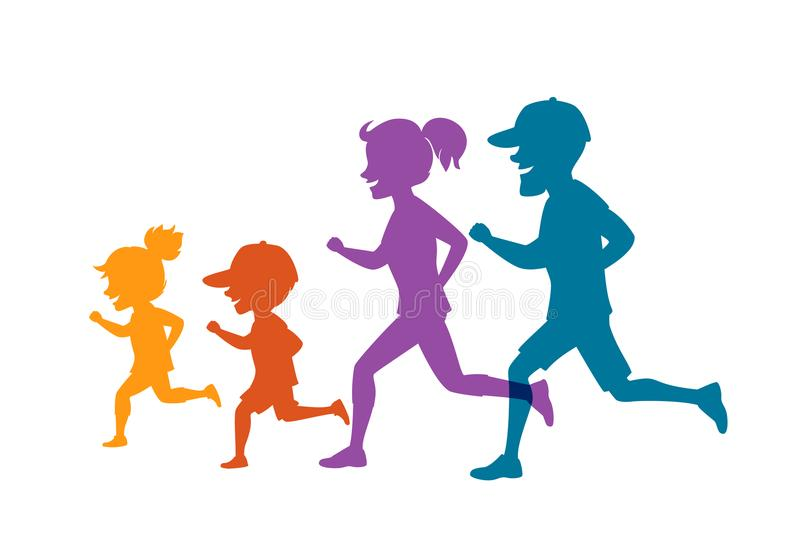 Family running jogging together isolated vector illustration colorful silhouettes royalty free illustration