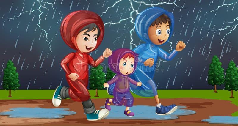 Family running in the rain. Illustration stock illustration