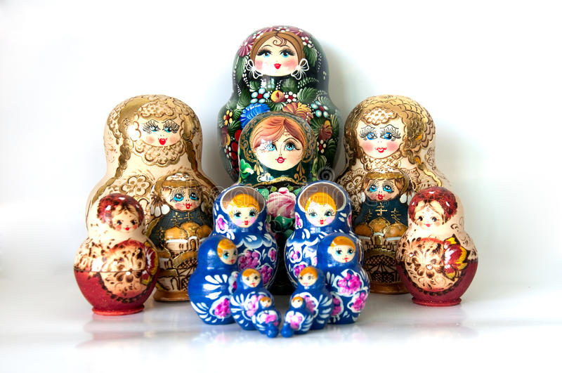 Family of Russian nested dolls royalty free stock images