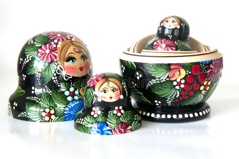 Family of Russian nested dolls stock photo