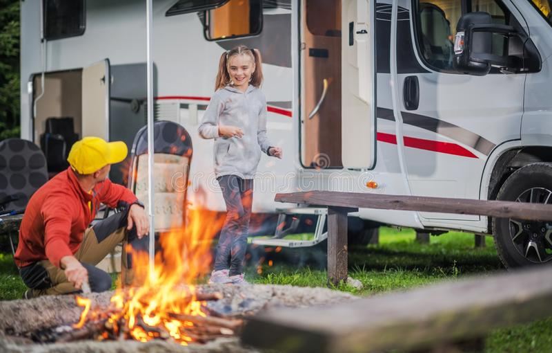 Family RV Road Trip Campsite stock image