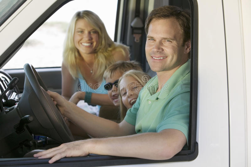Family in RV on Vacation stock photo