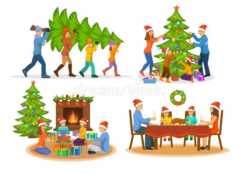 Family& x27; s nowy rok zimy Bożenarodzeniowe aktywność Ustawiać ilustracji