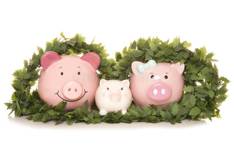 Family saving money at christmas royalty free stock photography