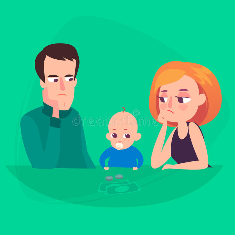 Family saving money. A man and a woman are saddened by the cost of a child. Family saving money. A man and a woman are thoughtful and saddened by the costs of a stock illustration