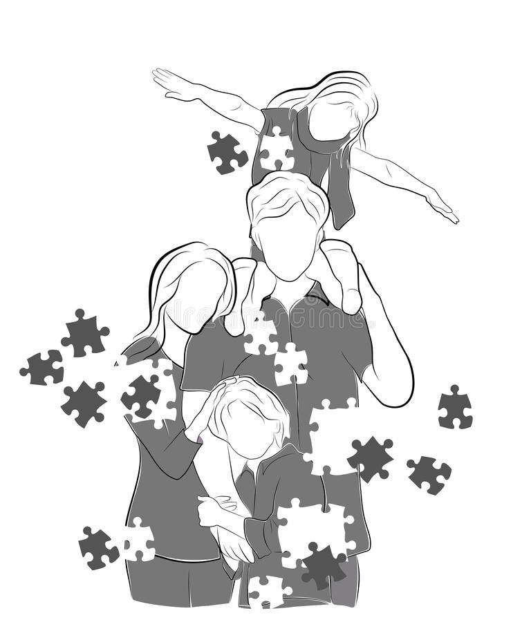 The family is scattered with puzzles. vector illustration. vector illustration