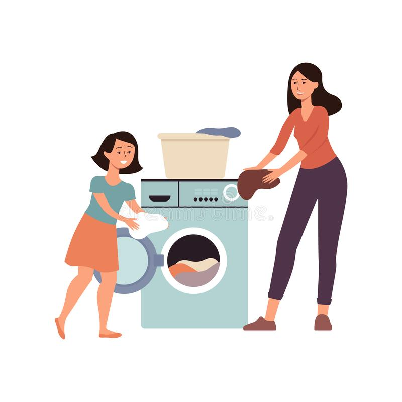 Family scene a daughter helps her mother at home flat vector illustration isolated. Family scene a daughter helping her mother at home flat cartoon vector stock illustration