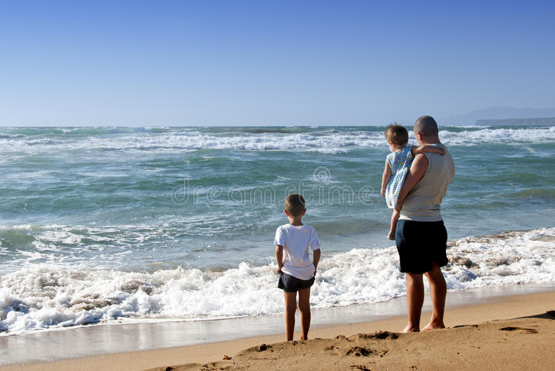 Family at the sea royalty free stock image