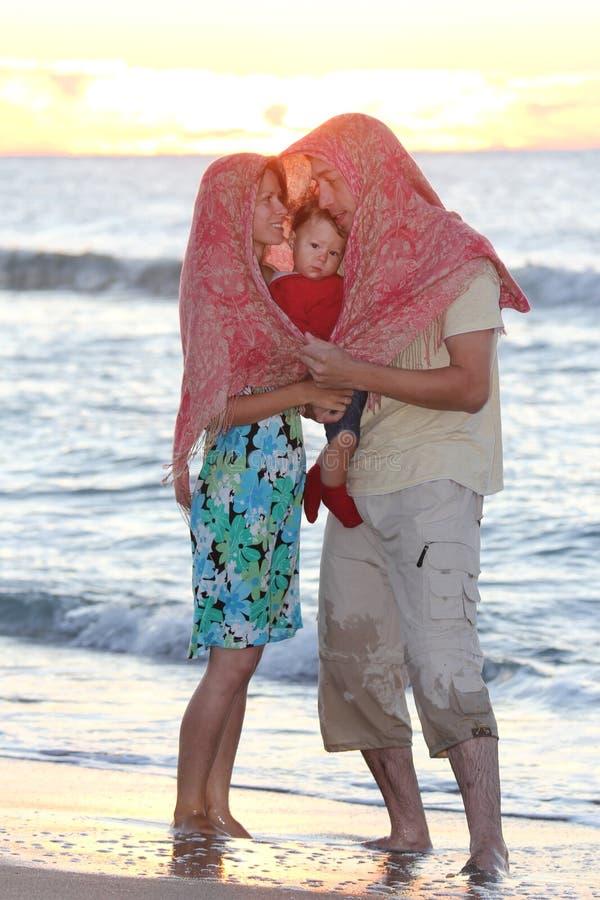 Family On The Sea Shore Stock Photos