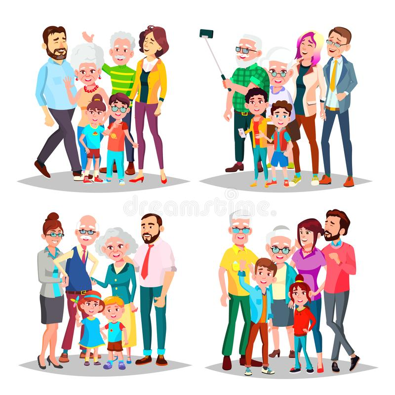 Family Set Vector. Big Full Happy Family Portrait. Father, Mother, Kids, Grandparents. Cheerful. Illustration royalty free illustration