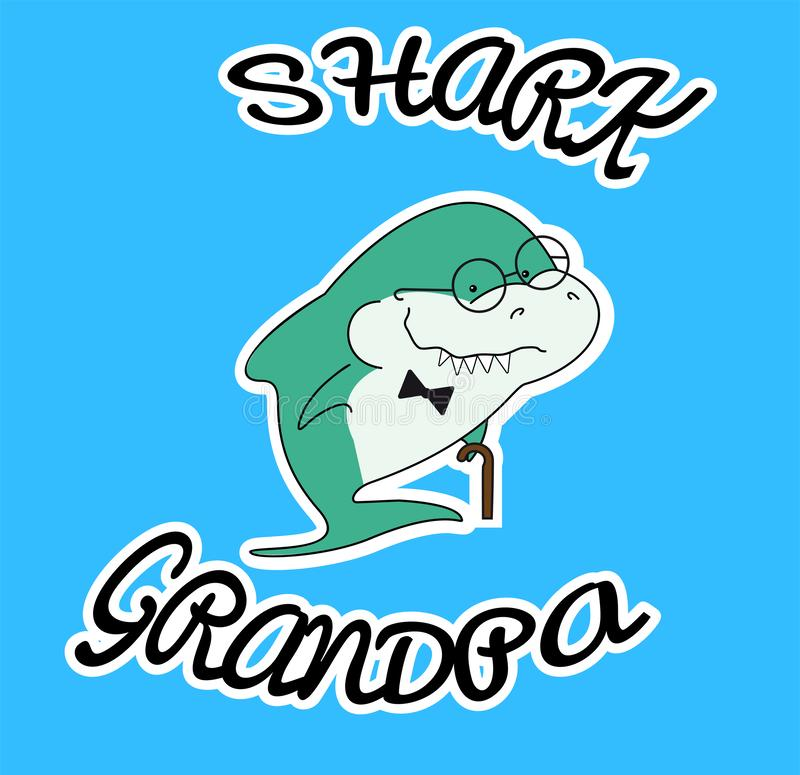 Family sharks. Grandpa shark with cane and bow tie. Cute cartoon green character with eyeglasses of sea animals. Print for clothes royalty free illustration