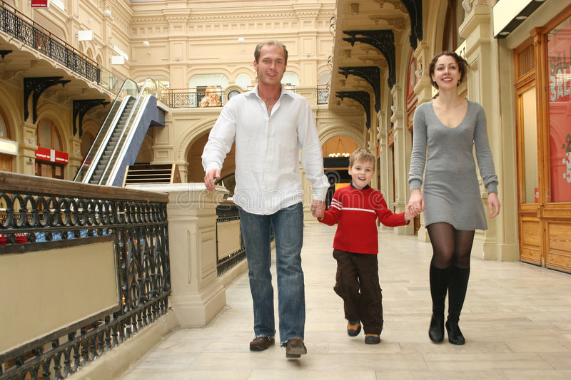 Family in a shop stock photography