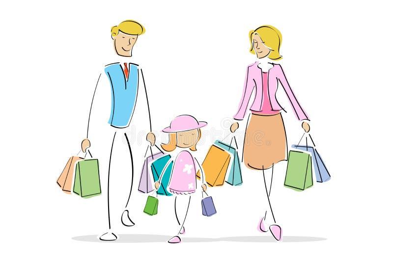 Family in shopping stock illustration